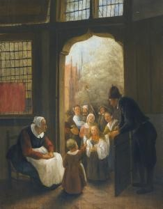Jan Havicksz Steen (ca. 1626 – 1679); Pinksterbloem (The Whitsun Bride), A Procession of Children Standing Before the Door of a Home. Oil on oak panel.