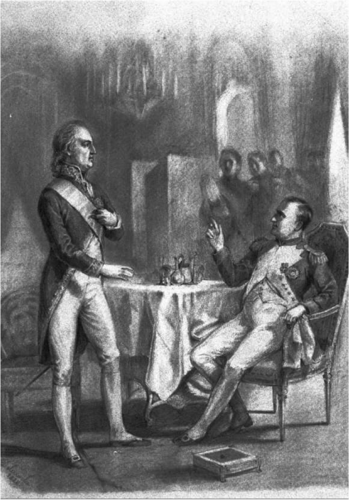The meeting in Erfurt between Goethe and Napoleon. Sketch by French painter Paul Delaroche (1797 – 1856)